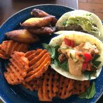 Calypso beef taco and Tiger Bait taco with sweet potato fries and plantains