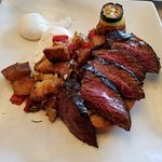 Hangar Steak w/my choice 2 poached eggs, veggie tower & roasted potatoes! YUM:-)