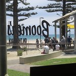 Another view through the glassed verandah of the Boomers on the Beach Cafe