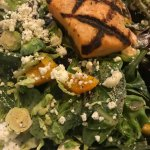 Salmon on Spinach Salad