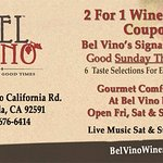 2 for 1 Wine Tasting On Line Coupon For Bel Vino WInery