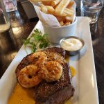 Scotch Fillet and Tiger Prawns with fries------Yummy.