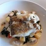 roast fillet of cod with butterbeans, clam and mussel sauce