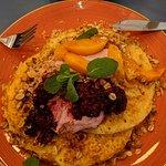 Peach Pancakes. Heaven on a plate 👌