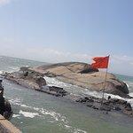 Kanyakumari Beach-The red flag denotes the point where 3 oceans meets