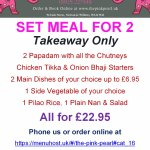 Takeaway Set Meal for 2 - £22.95