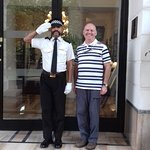 The very smart security guard at the entrance of the hotel.