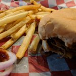 Texas Brisket Sandwich and Fries