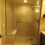 Shower with seating and wide open door