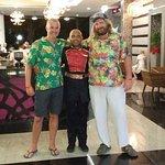 Hawaiian shirt night with Michel