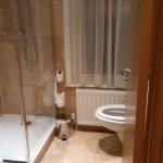 Smart bathroom with big walk in shower but note awkward location of WC