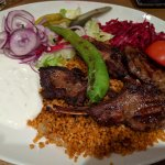 Turkish rice with grilled lamb chops
