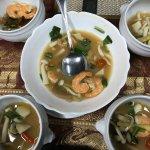 Tom Yam (prawn +mushrooms) with medium spicy