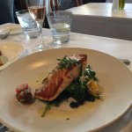salmon on bed of sauteed spinach (very good)