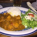 Curried chicken, salad and rice - very yummy and flavorful