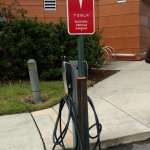 They have charging stations for electric cars in keeping with their upscale technology