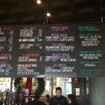 The menu at the bar (not the tour)