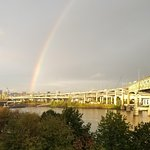 View from 6th floor--rainbow over the Willamette River