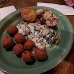 Crab cake with shrimp dinner and the Tilapia Florentine