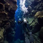 Diving through the crevice between the tectonic plates!
