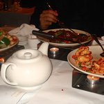 Spicy Jumbo Shrimp and a few other tasty dishes with tea