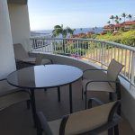 large lanai/patio with partial ocean view