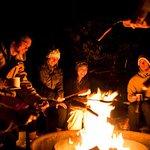 people warming @ bonfire