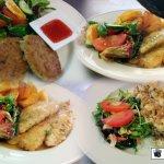 our fish variety on the lunch menu fresh Tarakihi,prawn cutlets, thai fishcakes