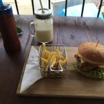 Crispy chicken burger and banana milkshake