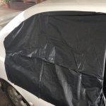 Rear right hand side glass panel & power windows motor damaged.