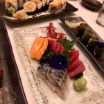 Mackerel, salmon, and tuna sashimi and the amazing Winchester roll