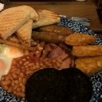 Full breakfast with added extra of black pudding