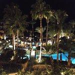 Pool area at night.