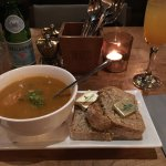 Soup of the day (vegetable) and bellini