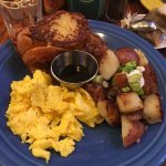 French Toast, Scrambled Eggs and the best home fries I've ever had