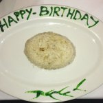 'Happy Birthday' message wrote on the plate, didn't even tell the it was for a birthday. Great!