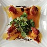Duck, fired polenta and orange vinegarette