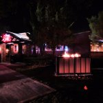 Smokey Bones at night - compete with outdoor fire
