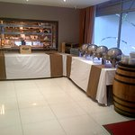 ...the set-up for serving the hotel guest breakfast....