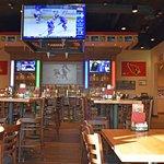 Inside Boston's Pizza sports bar area