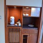 Tea and fridge station