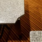 Table with busted corner that had sharp edges