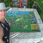 Cheryl next to the park map at Xcaret