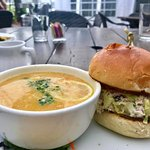 Cranberry Chicken Salad Sandwich with a side of Lemon Chicken Soup