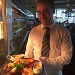 Waiter Rob showing off our Saturday special 'Cote de Boeuf'