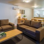 Lounge, dining and kitchen in all apartments