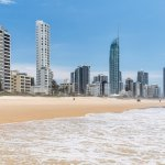 Views from Surfers Paradise beach looking back at Dorchester on the Beach in the fore ground
