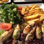 Grilled small squid platter