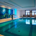 Indoor, heated pool with relax area