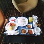Morning in-room dining breakfast